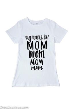 Mom White Graphic T-Shirt