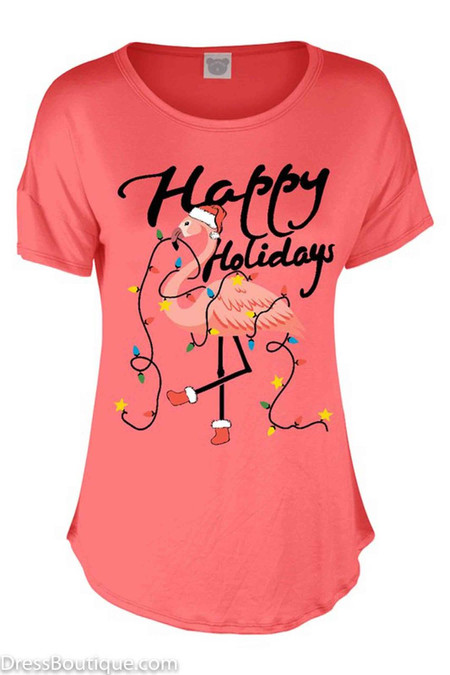 Happy Holiday Coral Flamingo T-Shirt