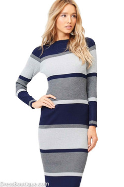 Navy Color Block Sweater Dress