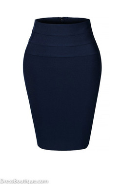 Navy Midi Bodycon Pencil Skirt