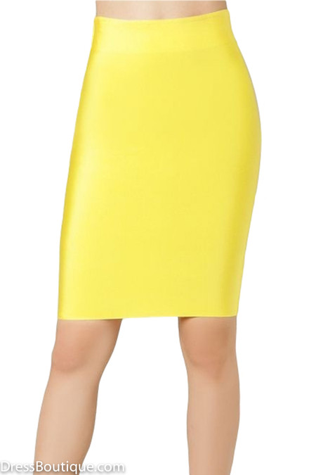 Luxe Yellow Bodycon Bandage Skirt
