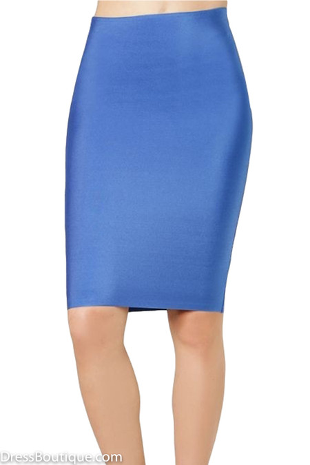 Luxe Blue Bodycon Bandage Skirt