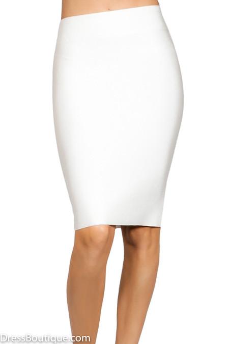 Luxe White Bodycon Bandage Skirt