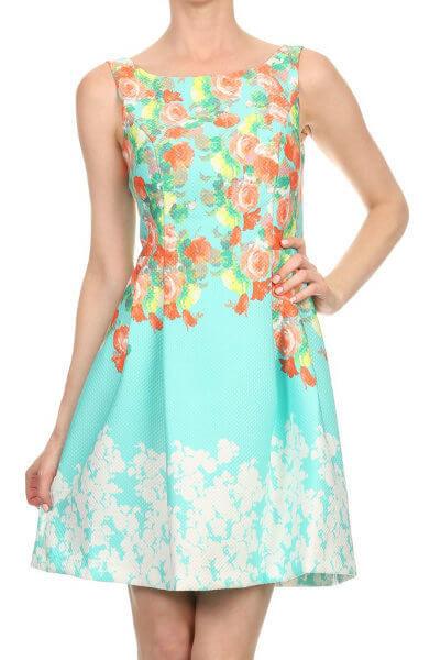 Aqua Floral Sleeveless Dress