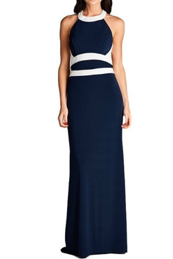 Navy Fitted Evening Dress