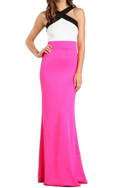 Cross Neck Maxi Block Dress