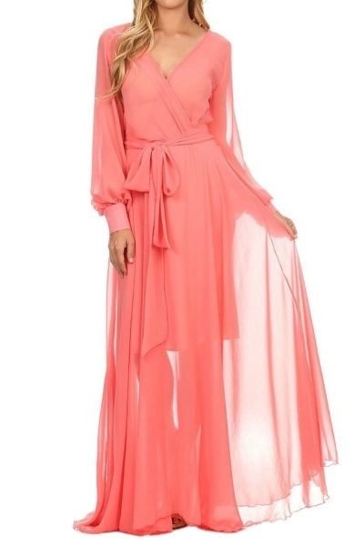 Coral Maxi Chiffon Dress