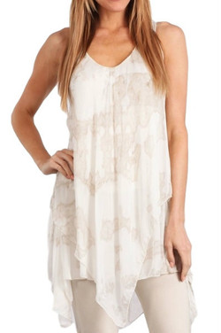 Italian Silk & Lace Sleeveless Tunic