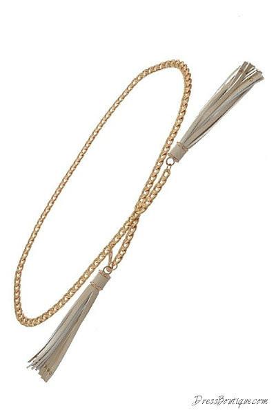Beige Tasseled Chain Belt