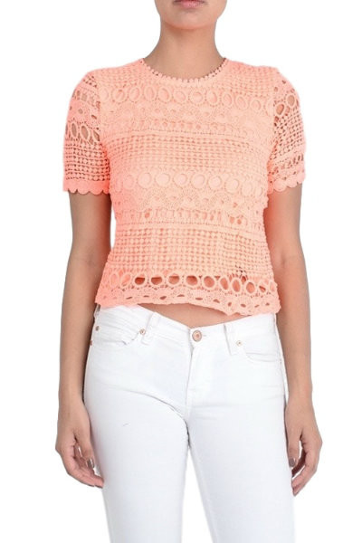 Peach Lace Short Sleeve Blouse