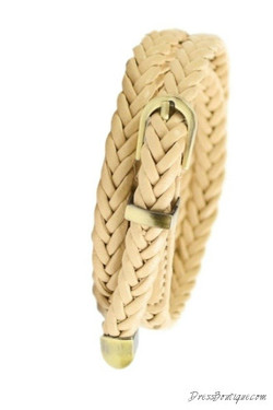 Slim Beige Braided Belt