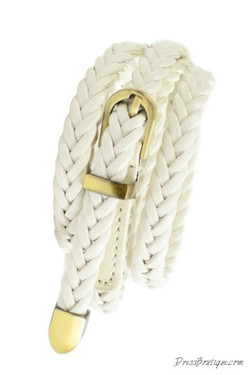 Slim Braided White Belt