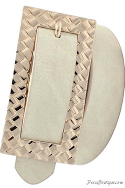 Beige Wide Buckle Belt
