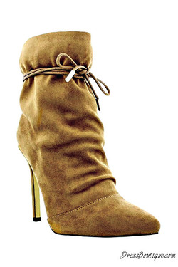 Tan Suede Stiletto Ankle Boot