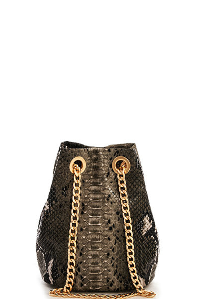 Snake Pattern Black Shoulder Bag