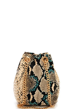 Snake Pattern Beige Shoulder Bag