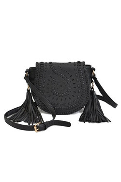 Black Braided Cross Body Bag