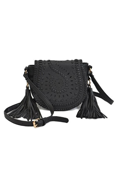Black Braided Cross Body Bag