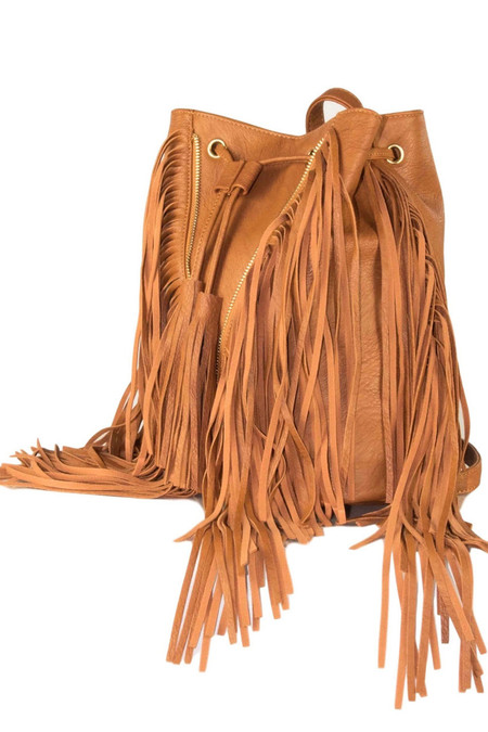 Brown Fringed Backpack