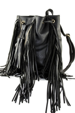 Black Fringed Backpack