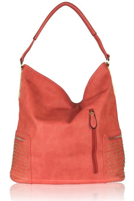 Studded Coral Shoulder Bag