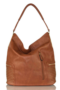 Studded Brown Shoulder Bag