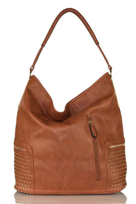 Studded Brown Shoulder Bag