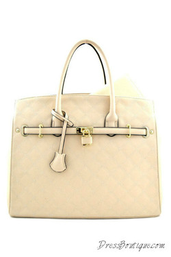 Stitched Oversized Beige Tote