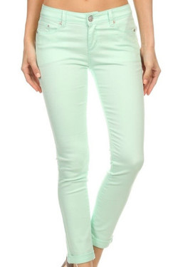 Light Green Fitted Jeans