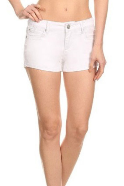 White Denim Fitted Shorts