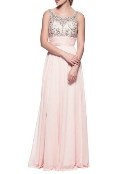 Elegant Soft Pink Evening Gown