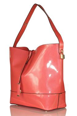 Elegant Coral Patent Shoulder Bag