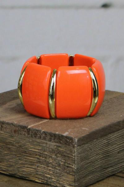 Juicy Orange Acrylic Link Bracelet