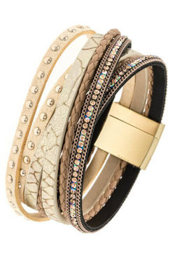 Beige Wrap Studded Bracelet