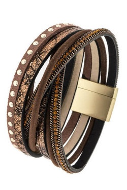 Brown Wrap Studded Bracelet