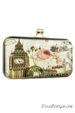 London Print Solid Clutch