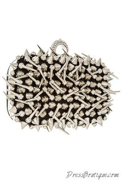 Spiked Silver Solid Clutch