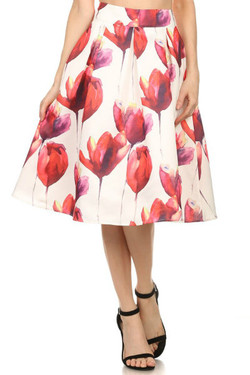Floral Print Tulip Midi Skirt