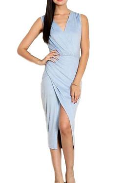 Faux Suede Wrap Accent Dress