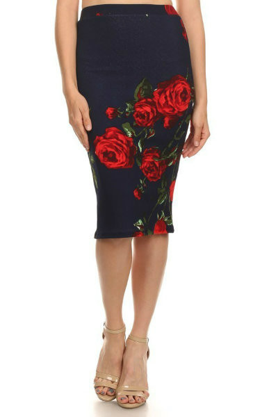 Fitted Floral Pencil Skirt