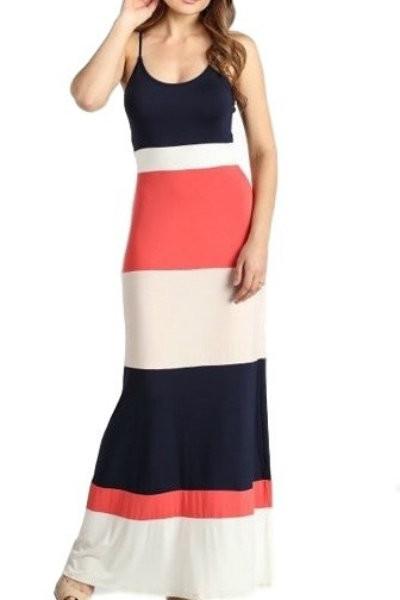Bold Print Striped Maxi Dress