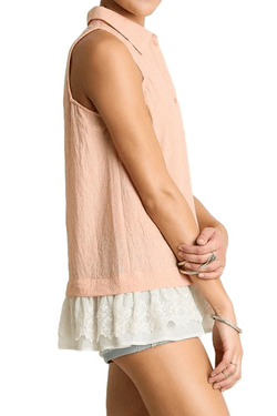 Peach Lace Trim Blouse