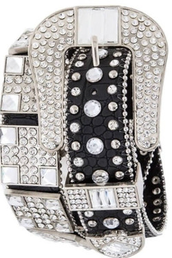 Black Bejeweled Studded Belt