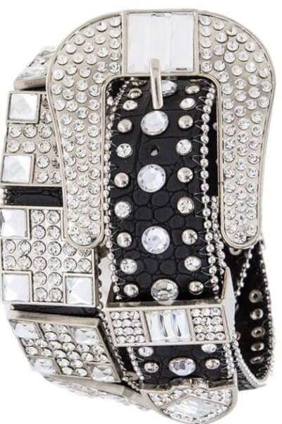 Black Bejeweled Studded Belt