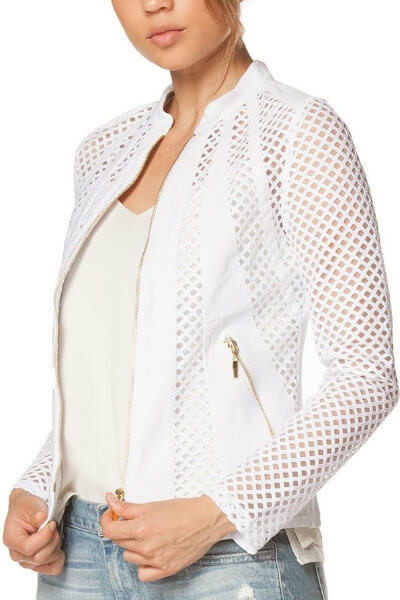 White Tailored Accent Mesh Jacket