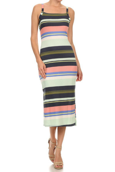 Casual Striped Maxi Dress