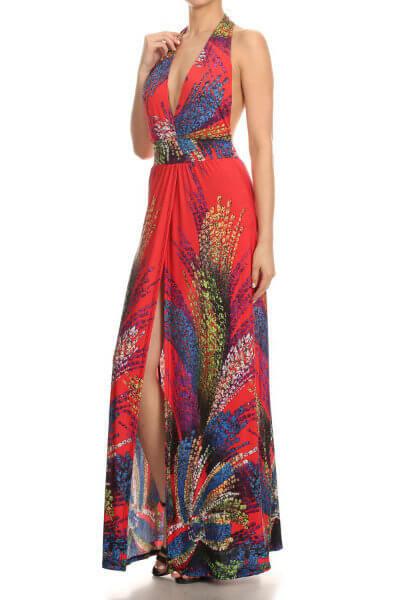 Red Halter Neck Maxi Dress
