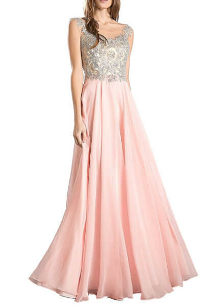 Pink Jeweled Evening Dress