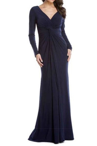 Navy Long Sleeve Evening Dress