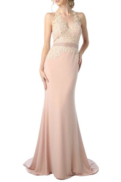 Peach Floral Evening Dress
